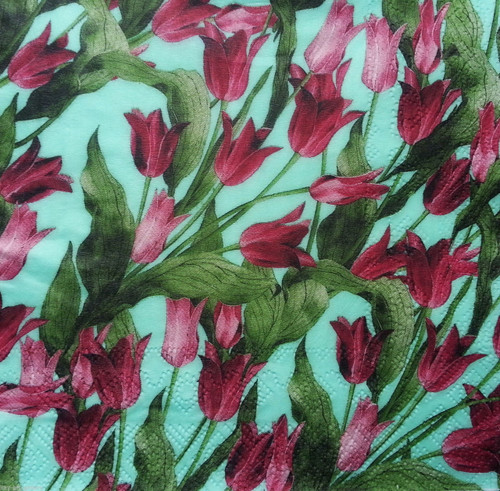 4 Vintage Paper Napkins , Lunch, Table , for Decoupage  - Green Tulips, Flowers