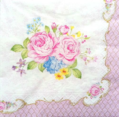 4 Vintage Paper Napkins , Lunch, Table , for Decoupage  - Pink Roses Alice, Flowers