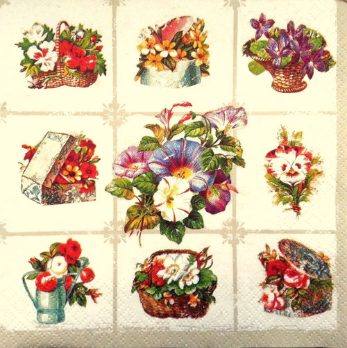 4 Vintage Paper Napkins , Lunch, Table , for Decoupage -Bunches of Flowers
