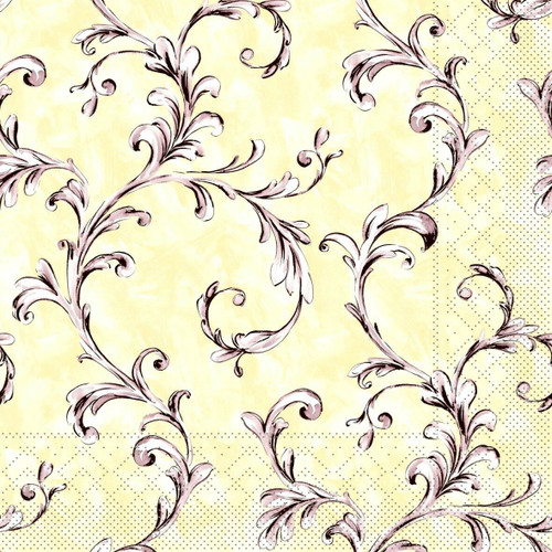 4 Vintage Paper Napkins , Lunch, Table , for Decoupage - Beige Ivy Yellow , Flowers