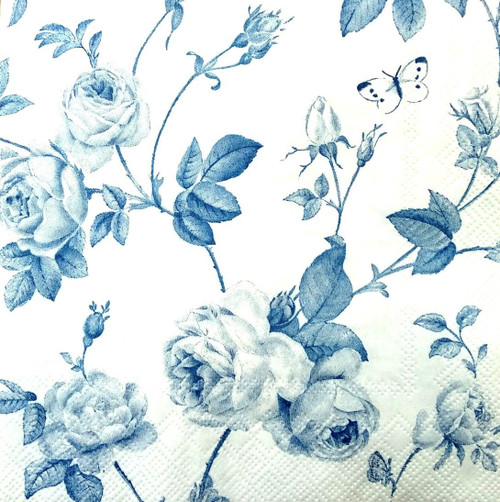 4 Vintage Paper Napkins , Lunch, Table , for Decoupage -Blue Garden Flo , Flowers