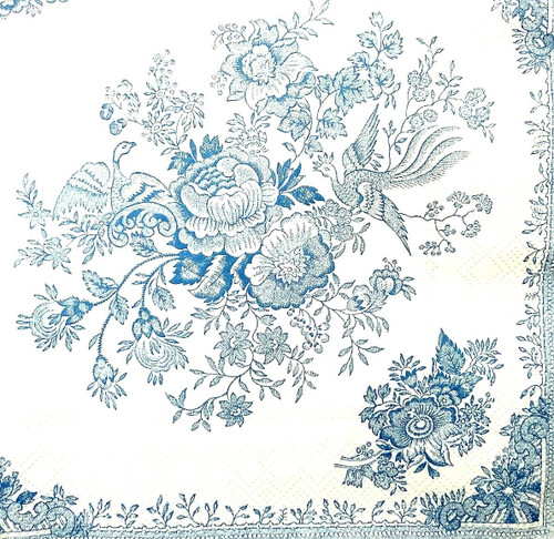 4 Vintage Paper Napkins , Lunch, Table , for Decoupage -Blue Pheasant, Flowers