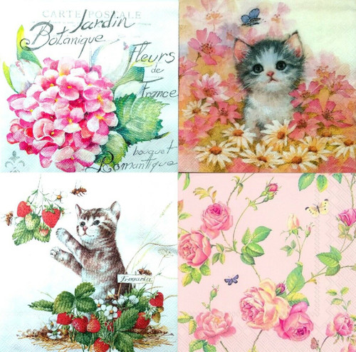 4 Different Designs Lunch Paper Napkins for Decoupage - Animals Floral 1, Flowers