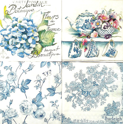 4 Vintage Paper Napkins , Lunch, Table , for Decoupage -Animals Floral Mix 3, Flowers