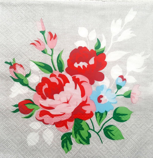 4 Lunch Paper Napkins Decoupage -Cathy Roses 2, Flowers