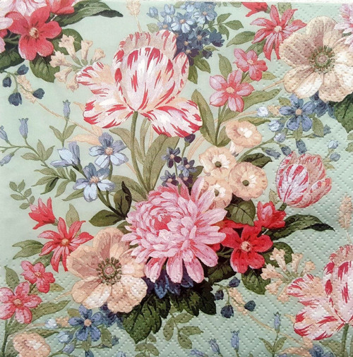 4 Vintage Paper Napkins , Lunch, Table , for Decoupage -Floral Frame Mix , Flowers