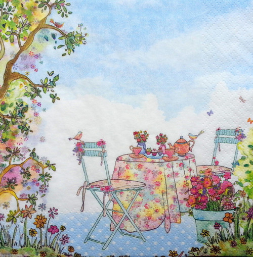 4 Vintage Paper Napkins , Lunch, Table , for Decoupage -Magic Garden View , Flowers