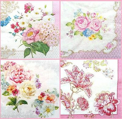 4 Vintage Paper Napkins , Lunch, Table , for Decoupage - Magic Garden Mix , Flowers