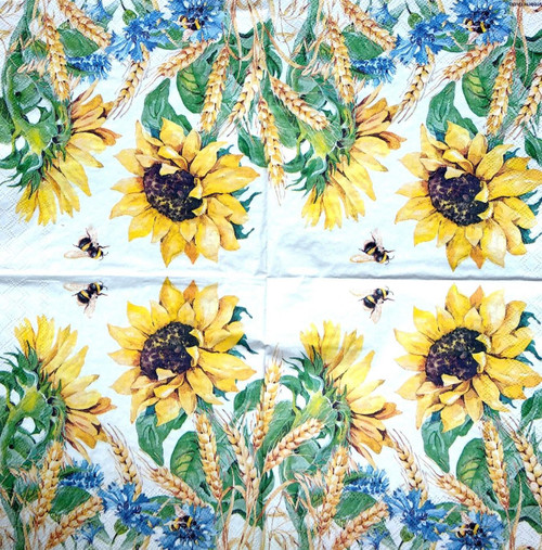 4  Single Lunch Paper Napkins -Sunflowers and Bee Valley, Flowers