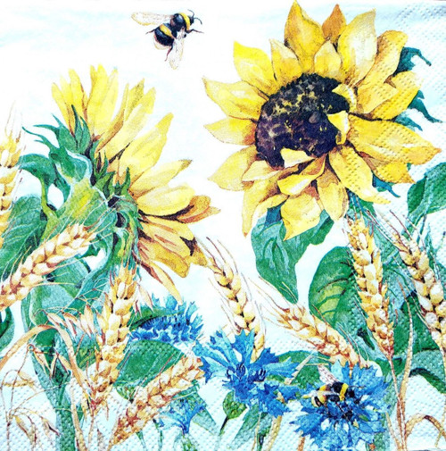 4 Vintage Paper Napkins , Lunch, Table , for Decoupage -Sunflowers and Bee Valley, Flowers
