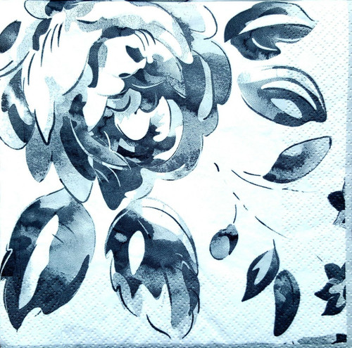 4 Vintage Paper Napkins , Lunch, Table , for Decoupage -Grey Roses Village, Flowers