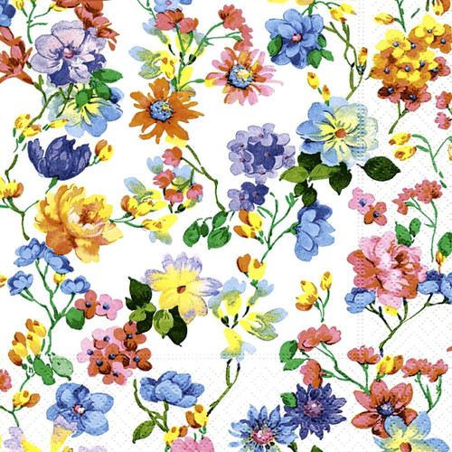 4 Vintage Paper Napkins , Lunch, Table , for Decoupage-  Floral Meadow Mix Village, Flowers