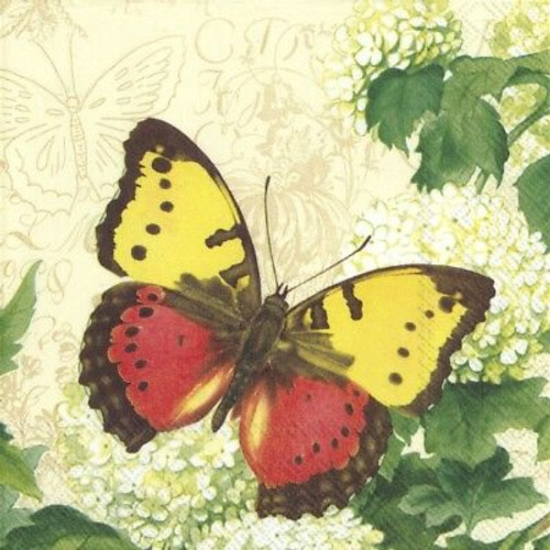 4 Vintage Paper Napkins , Lunch, Table , for Decoupage-Butterfly Summer Cream