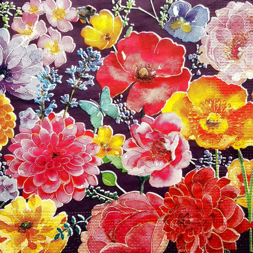 4 Vintage Paper Napkins , Lunch, Table , for Decoupage   - Spring Garden, Flowers