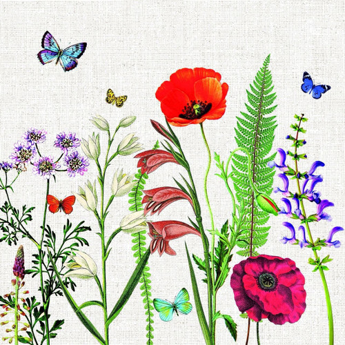 4 Vintage Paper Napkins , Lunch, Table , for Decoupage  -Poppies Meadow Art, Flowers