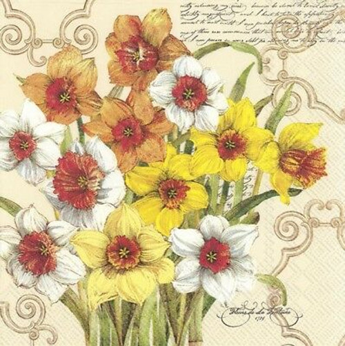 4 Vintage Paper Napkins , Lunch, Table , for Decoupage  -Colorful Daffodil , Flowers