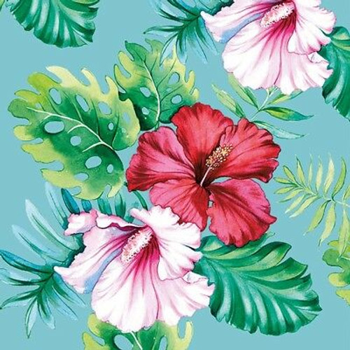 4 Vintage Paper Napkins , Lunch, Table , for Decoupage -Hibiscus Floral Petrol, Flowers