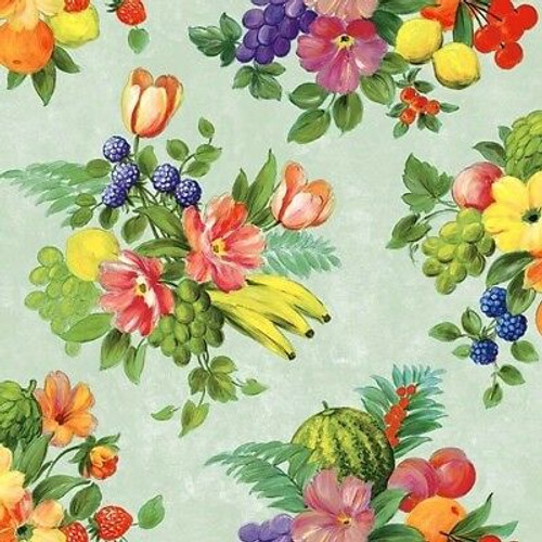 4 Vintage Paper Napkins , Lunch, Table , for Decoupage -Flowers and Fruits Green,