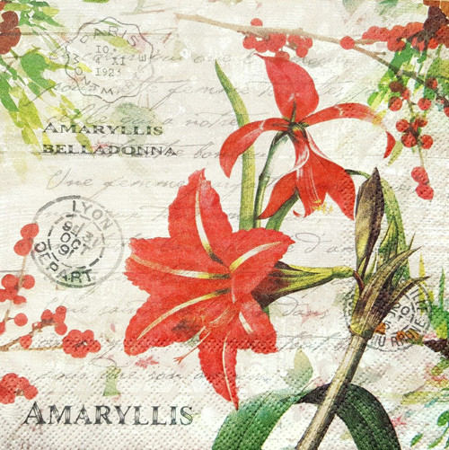 4 Lunch Paper Napkins for Decoupage - Christmas Amaryllis Flowers