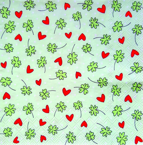 4 Vintage Paper Napkins , Lunch, Table , for Decoupage - Sweet Hearts Red and Flowers