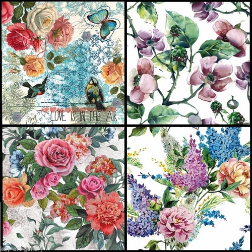 4 Vintage Paper Napkins , Lunch, Table , for Decoupage- Mix Spring Flowers