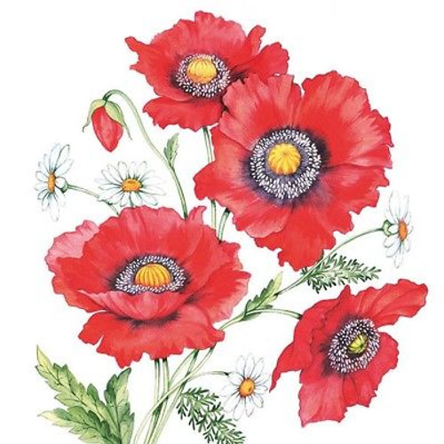 4 Vintage Paper Napkins , Lunch, Table , for Decoupage- Art Poppy Scene, Flowers
