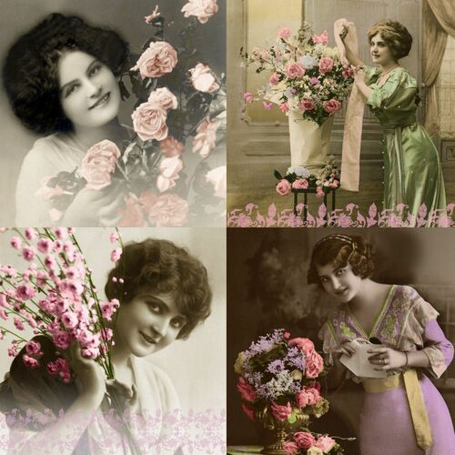 4 Vintage Paper Napkins , Lunch, Table , for Decoupage -  Vintage Photos Girls, Flowers
