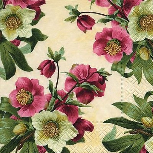 4 Vintage Paper Napkins , Lunch, Table , for Decoupage - Roses, Flowers