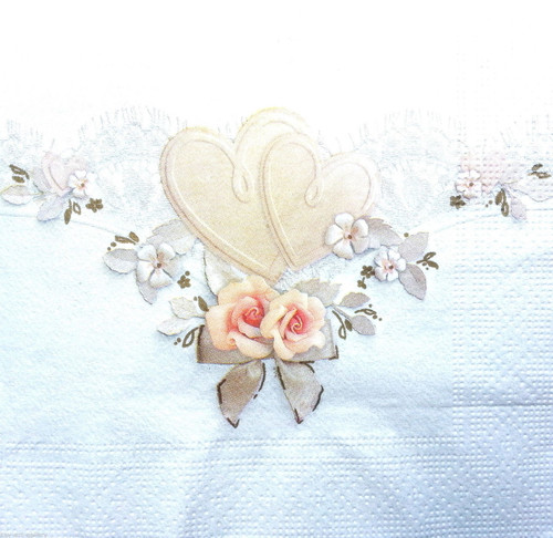 4 Vintage Paper Napkins , Lunch, Table , for Decoupage -Wedding Hearts , Flowers