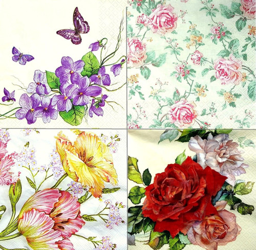 4 Vintage Paper Napkins , Lunch, Table , for Decoupage -Floral Mix 4 , Flowers