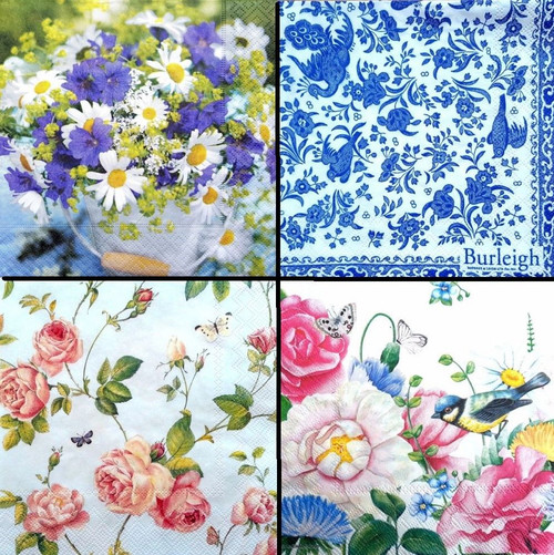 4 Vintage Table Paper Napkins for Party- Floral Mix 5 , Flowers