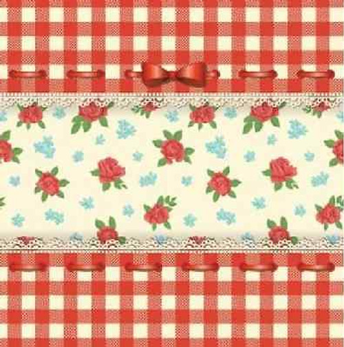 4 Vintage Paper Napkins , Lunch, Table , for Decoupage -Red Cottage, Flowers
