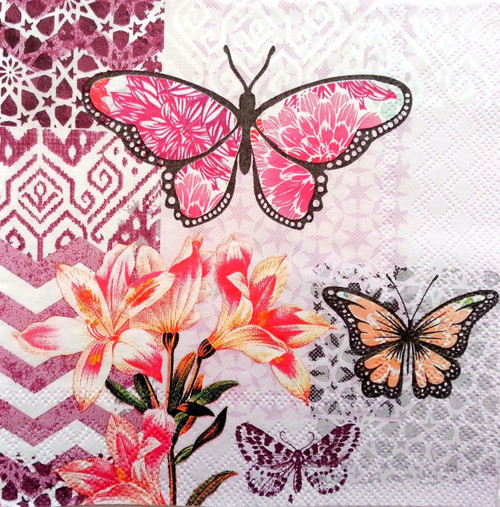 4 Vintage Paper Napkins , Lunch, Table , for Decoupage  -Butterflies , Flowers