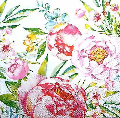 4 Vintage Paper Napkins , Lunch, Table , for Decoupage  - Romantic Peony , Flowers