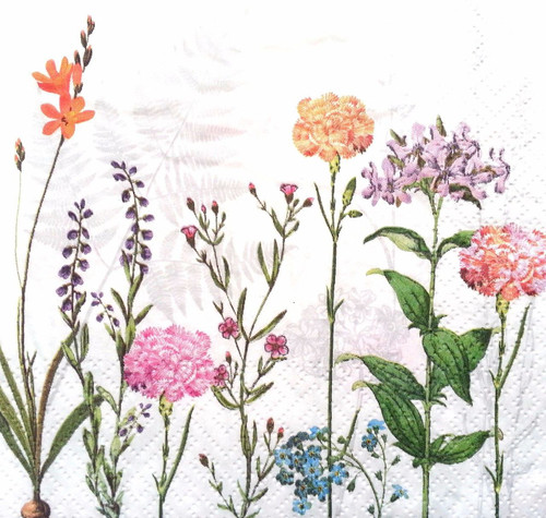 4 Vintage Paper Napkins , Lunch, Table , for Decoupage  -Light Meadow Cream, Flowers