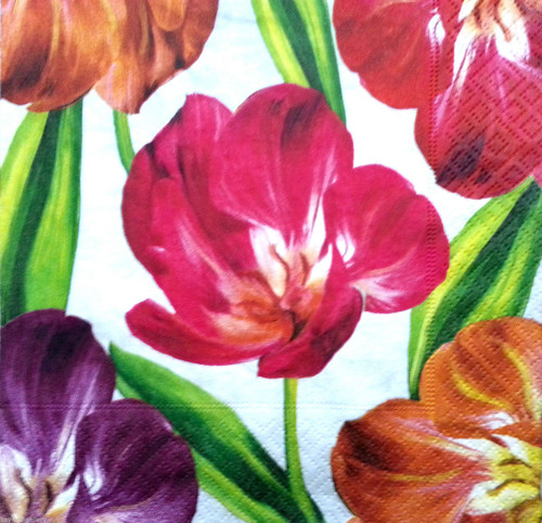 4 Vintage Paper Napkins , Lunch, Table , for Decoupage  - Tulipani Floral , Flowers