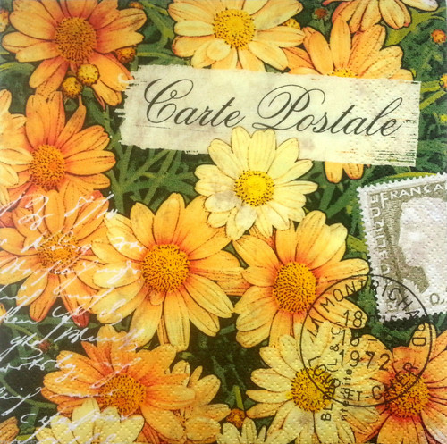 4 Vintage Paper Napkins , Lunch, Table , for Decoupage  -Card Postale Marigold , Flowers