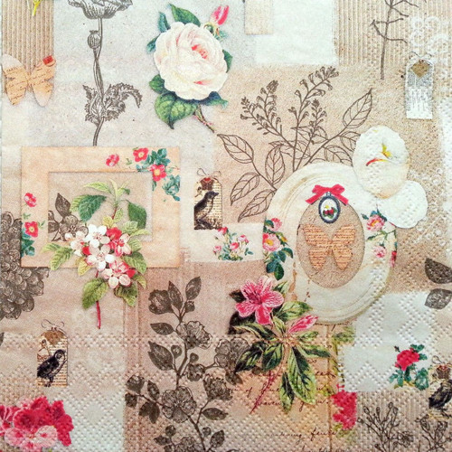 4 Vintage Table Paper Napkins for Decoupage  -Flowers in Frame