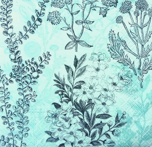 4 Vintage Table Paper Napkins for Decoupage  -Flowers Meadow Green