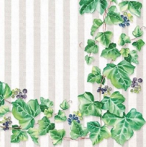 4 Vintage Paper Napkins , Lunch, Table , for Decoupage  -  Green Ivy , Flowers