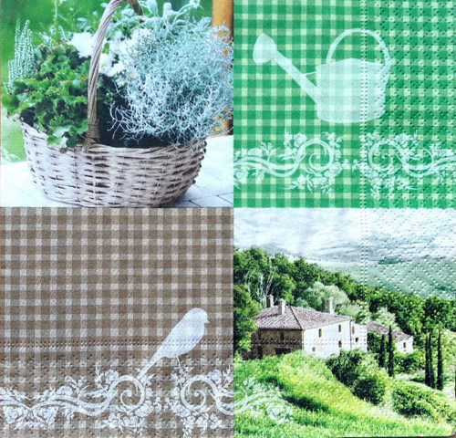 4 Vintage Paper Napkins , Lunch, Table , for Decoupage  -  Garden & Italy , Flowers