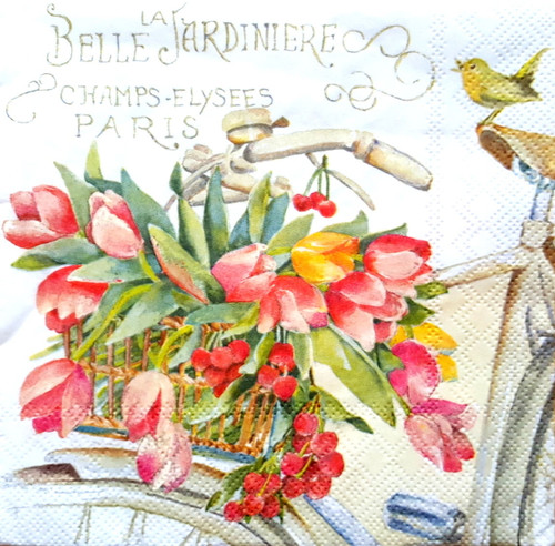 4 Single Lunch Paper Napkins for Decoupage  -  Tulips and Bike Garden , Flowers