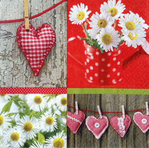 4 Vintage Paper Napkins for Decoupage  - Love Collage, Heart , Flowers