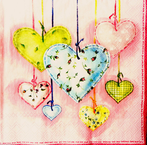 4 Vintage Paper Napkins for Decoupage  -Spring Hearts Flowers