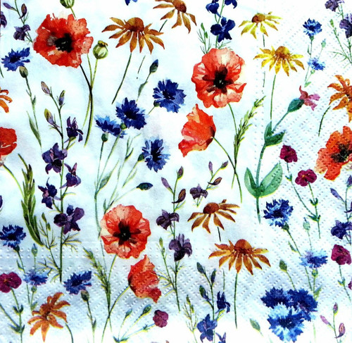 4  Vintage Paper Napkins , Lunch, Table , for Decoupage  - Meadow of Flowers, Garden , Flowers
