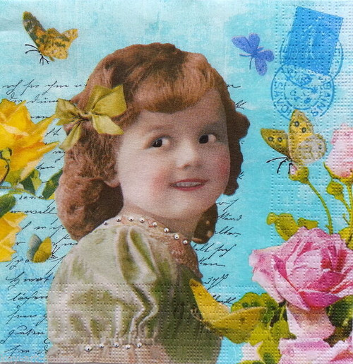4  Vintage Paper Napkins , Lunch, Table , for Decoupage  -   Beauty Girl, Flowers