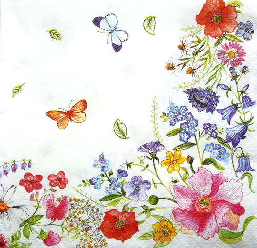 4  Vintage Paper Napkins , Lunch, Table , for Decoupage  - Colorful Flowers