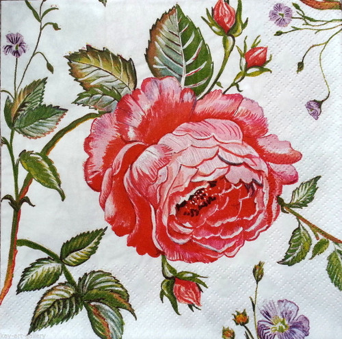 4  Vintage Paper Napkins , Lunch, Table , for Decoupage  - Red Ivy Rose, Flowers