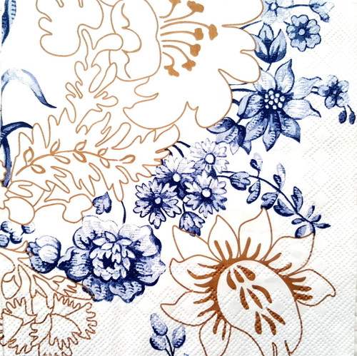 4  Vintage Paper Napkins , Lunch, Table , for Decoupage  -Floral Picture, Flowers