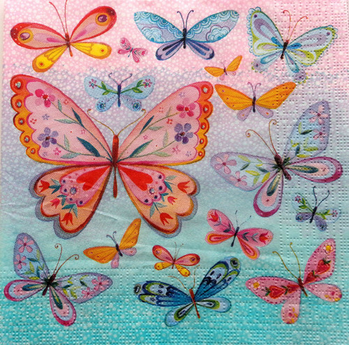 4  Vintage Paper Napkins , Lunch, Table , for Decoupage   -Rainbow Butterflies